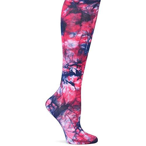 Nurse Mates Women's 12-14 Mmhg Wide Calf Compression Trouser Sock Navy Rasberry Tie Dye