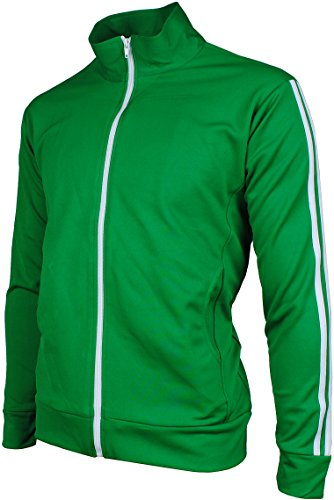 La Angels Jacket - Angel Cola Men's Retro Stripes Full Zip-up Track Top Jacket Forest Green XL