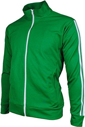 Retro Soccer Jackets - Angel Cola Men's Retro Stripes Full Zip-up Track Top Jacket Forest Green L