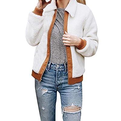 Londony ??? Clearance Sales 2018, Women's Slim Fit Open Front Collar Zipper Pockets Cardigan Faux Shearling Coat
