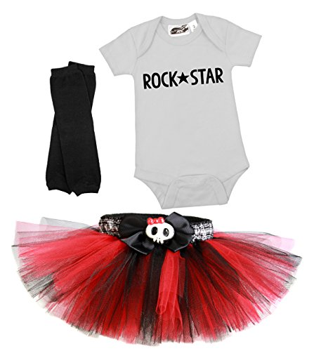 Punk Princess Red & Black Tutu 3 Piece Costume Set 18 Months