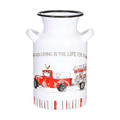 Farm Living Is The Life For Me Red On White 8 x 6 Metal Milk Jug Pitcher