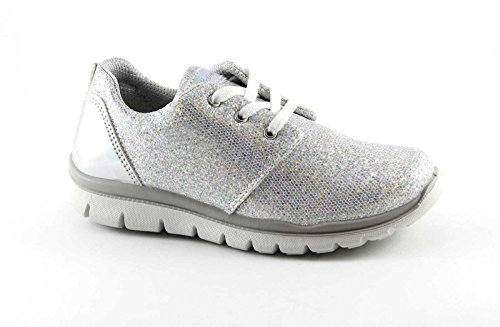 PRIMIGI 75858 Mädchen Schuhe Sneaker Schnürsenkel niedrigen Glitzerlauf Bianco