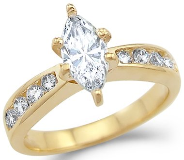 Size- 7 – Solid 14k Yellow Gold Solitaire Marquise CZ Cubic Zirconia Engagement Ring . 1.25 ct