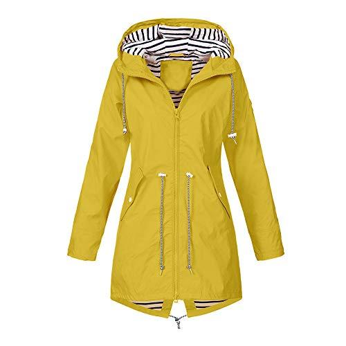 Xturfuo Women's Long Coat Outdoor Jacket Waterproof Sunscreen Hooded Sportswear Yellow