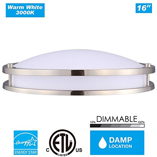 Cloudy Bay LED Flush Mount Ceiling Light,16 inch 23W 3000K Warm White Dimmable,1610lm,ETL Energy Star,Brushed Nickel