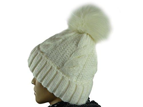 en y para colores blanco Beanie de mujer piel gorro pompón hombre trenzado calientes muchos con con veilo xIF4OO