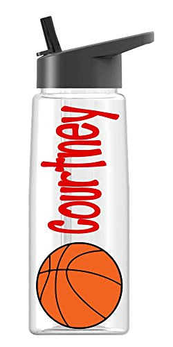 Personalized Sport water bottle Basketball design with name BPA Free 26 oz, clear or colored bottle