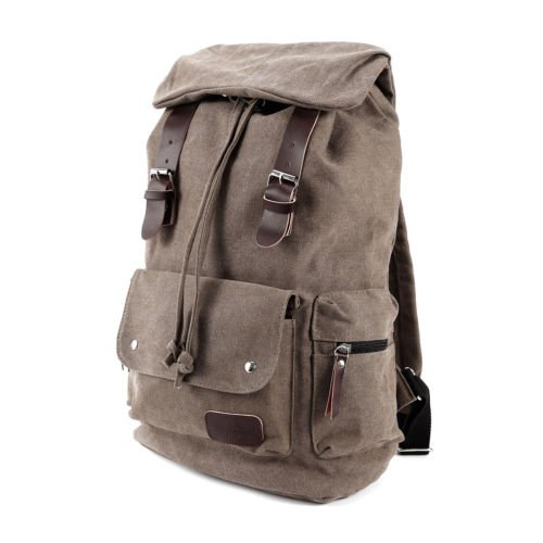 The Pecan Man Brown Vintage Canvas Satchel School Bag Travel Backpack