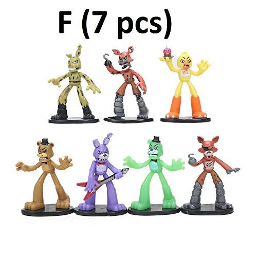 PAPWELL Set 12 Five Nights at Freddy's Action Figures 2 - 4.5 inch FNAF Hot Toys Foxy Chica Bonnie Freddy Fazbear Toy Halloween Christmas Collectable Gift Collection Gifts for Kids -
