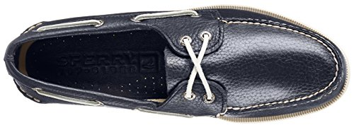 Sperry A/O 2-Eye Leather 0195214 - Mocasines de cuero para hombre Azul marino