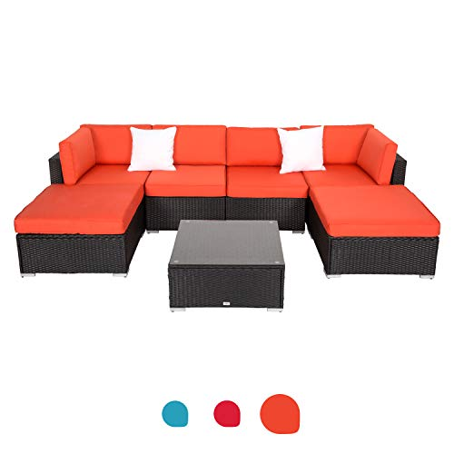Peach Tree Outdoor Furniture Sectional Wicker Sofa Set 7 PCs Patio, All-Weather Washable Waterproof Orange Cushions, w/Glass Coffee Table, Backyard, Pool ()