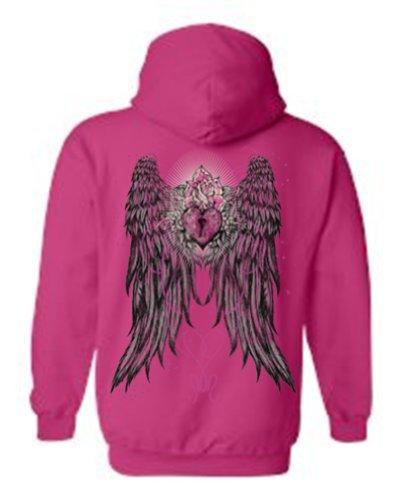[Women's Pullover Hoodie Beautiful Angel Wings Heart Lock & Rose H PNK (4XL)] (Fairy Wing Tattoos)