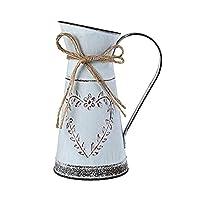 Hopeas Vaso per Fiori Vintage in Metallo con Manico, Brocca Metallo shabby Vasi per Fiori Interno Stile Rustico Vasi da…