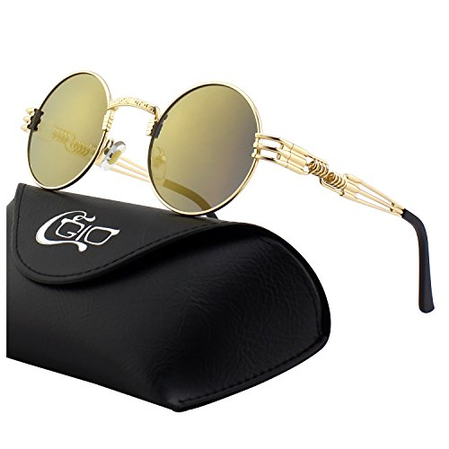 CGID E73 Retro Steampunk Style Inspired Round Metal Circle Polarized Sunglasses for Women Men