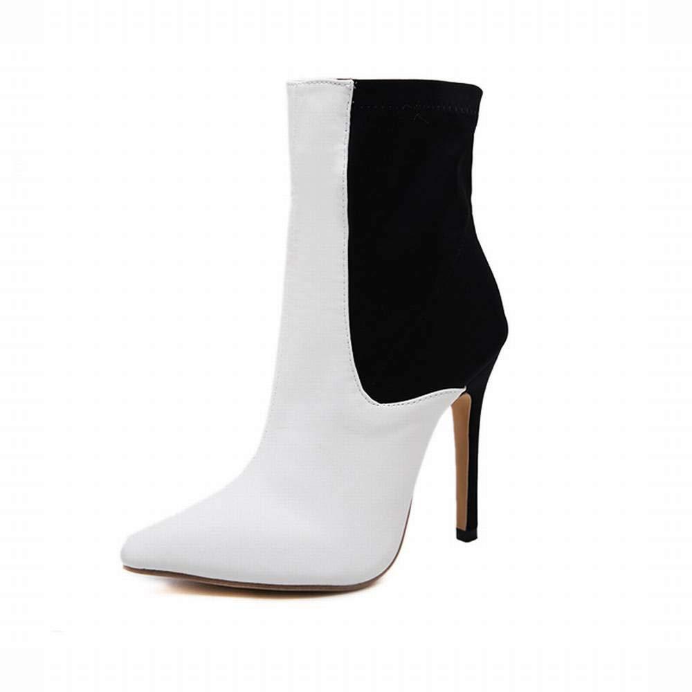 Yahuyaka Damenstiefel Farbige Bloße Stiefel Hohe Absätze (Farbe   schwarz and Weiß Größe   39)