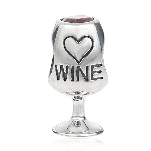 Red Wine Lover Glass Charms 925 Sterling Silver with Red Cubic Zircon Love Heart Bead (Red Heart Silver Beads)