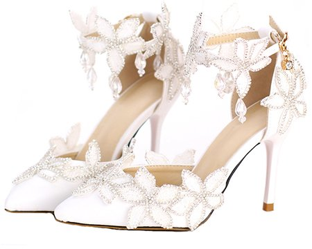 4 Sandals Prom 9Cm Wedding VIVIOO Women's Hanging Crystal Bride's Sandals Photo Woman Heel Lace Heels Shoes Heel Super White Shoes Shoes Flower Wedding High 5gqdq