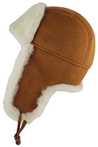 Zavelio Shearling Sheepskin Leather Aviator Russian Ushanka Trapper Winter Fur Hat (X-Large, - Canada Ski Goggles Amazon