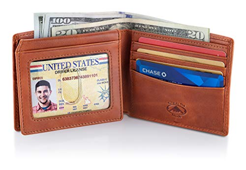 Stealth Mode Leather Bifold Wallet for Men With ID Window and RFID Blocking (Beige) by Stealth Mode (Image #1)