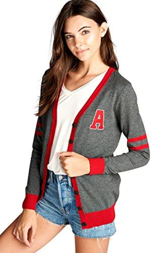ToBeInStyle Women's L.S. V-Neck Varsity Cardigan - Charcoal/Red - (Varsity Sweater)