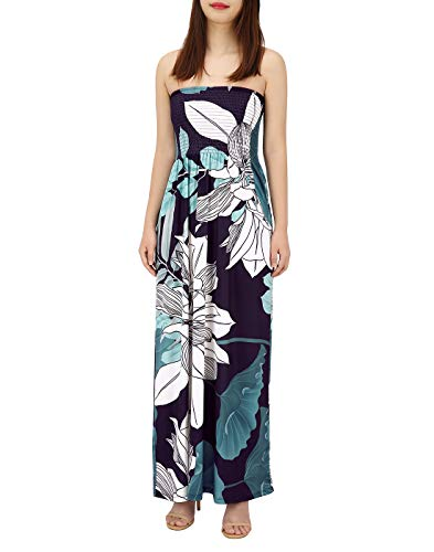 HDE Women's Strapless Maxi Dress Plus Size Tube Top Long Skirt Sundress (Floral, Small)