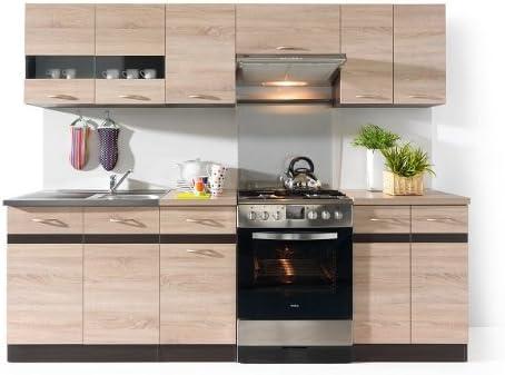 Junona - Muebles de cocina, 240 cm, color roble sonoma: Amazon.es: Hogar