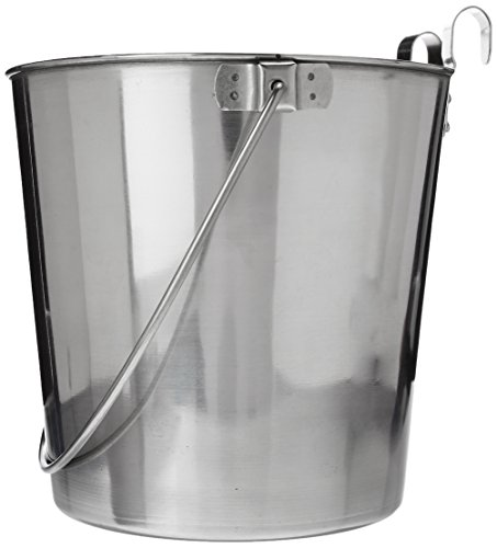 (QT Dog Flat Sided Stainless Steel Bucket with Hooks, 6 Quart)