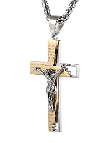 HZMAN Men's Stainless Steel Cross Crucifix Bible Prayer Pendant Necklace 24