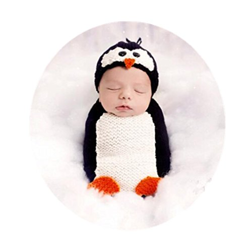 Coberllus Newborn Baby Photography Props Outfits Penguin Hat Sleeping Bag for Boy Girls Photography Shoot for $<!--$15.99-->