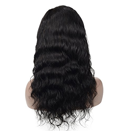 Brazilian Virgin Human Hair Lace Front Wigs Glueless Long Body Wave With Baby Hair For Black Women 130% Density Natural Black 16inch By Veer by Veer (Image #1)