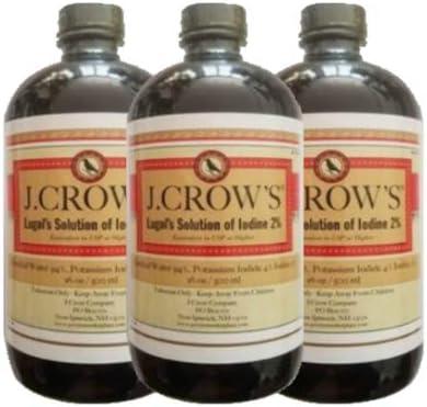 J.CROW'S® Lugol's Solution of Iodine 2% 16 oz Three Pack (3 Bottles)