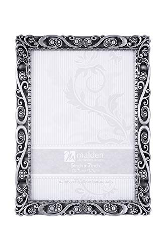 Malden International Designs Morgan Pewter Metal Picture Frame, 5x7, Silver