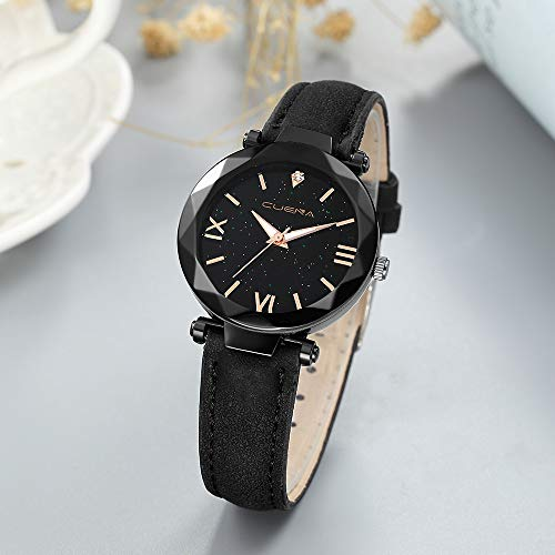 bc55c79bf476 ... SFE Fashion Women 's Leather Band CUENA Analog Quartz Diamond Wrist Watch  Watches ...
