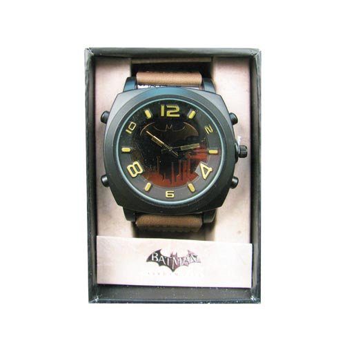 Batman Arkham City Earth Brown Strap Watch (Emerald Mens Watch)