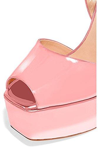 Fsj Donne Sandali Con Plateau Superbo Con Cinturino Alla Caviglia Con Fibbia Spessa Tacchi Alti Taglie 4-15 Us Pink