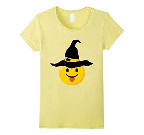 Sassy Emoji Costume (Womens Emoji Halloween Costume Naughty Sassy Smile Witch Costume XL Lemon)