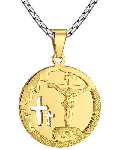 Men's Stainless Steel Jesus Christ Crucifixion Medallion Pendant Necklace, 23