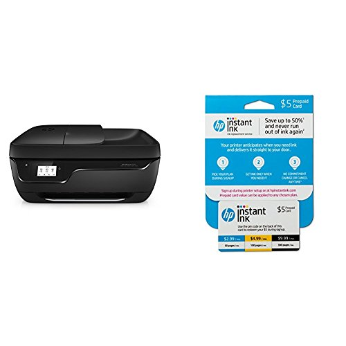 HP OfficeJet 3830 All-in-One Wireless Printer with Mobile Printing (K7V40A) and Instant Ink Prepaid Card for 50 100 300 Page per Month Plans (3HZ65AN)