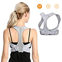 Back Posture Corrector for Men and Women, Adjustable Upper Back Clavicle Posture Support for Improve Bad Posture, Chest Slouching, Thoracic Kyphosis and Shoulder Neck Pain Relief- Gray(M)