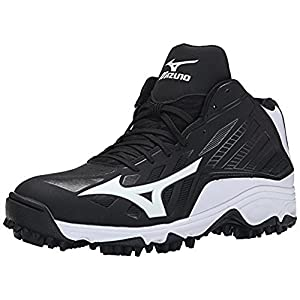 Mizuno Men's 9 Spike ADV Erupt 3 Mid Softball Cleat, Black/White, 13 M US