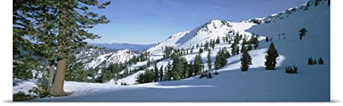 Great Big Canvas Poster Print entitled Snow covered hills, Lake Tahoe