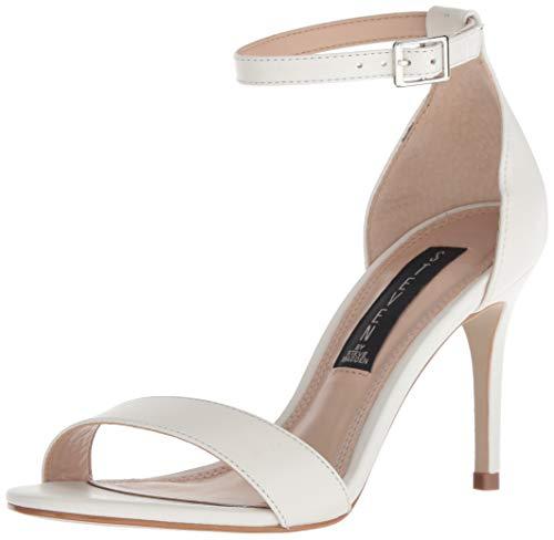 (STEVEN by Steve Madden Women's Naylor Heeled Sandal, White Leather, 6.5 M)