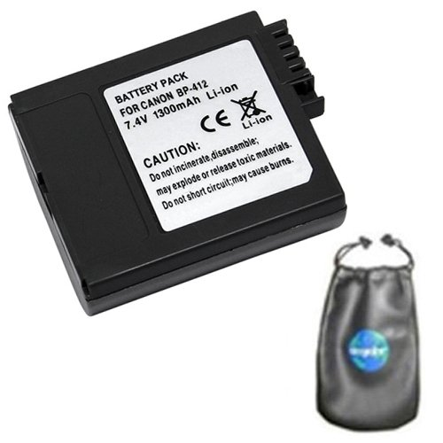amsahr Digital Replacement Camera and Camcorder Battery for Canon BP-406, BP-407, BP-412, MVX10i, IXY DV, IXY DV 2, DM-MV3, DM-MV3i - Includes Leatherette Camera/Lens Accessories Pouch