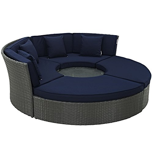 Modern Sectional Daybed (Modway Sojourn Outdoor Patio Sectional Daybed With Sunbrella Brand Navy Canvas Cushion)