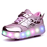 Ufatansy LED Shoes Roller Skate Shoes USB Charging Flashing Roller Sneakers Light Up Skates Shoes Sneakers with Wheels Kids Girls Boys (13 M US =CN31, Double Wheels, Rose) (Color: Cd Rose, Tamaño: 13 Little Kid)