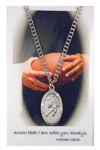 Boys St. Christopher Football Medal with Prayer - Football Christopher Medal