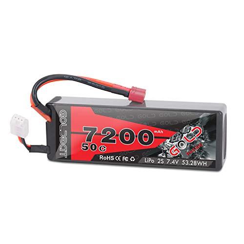 GOLDBAT 2S 7.4V 7200mAh 50C Hard Case RC LiPo Battery Pack with Deans T Plug for RC Car Vehicle Truck Tank Losi Traxxas Slash Truggy Buggy Team ()