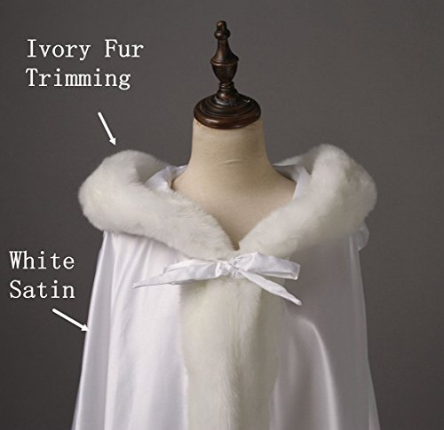 BEAUTELICATE Women's Bridal Cape Wedding Cloak With Fur Floor-length White