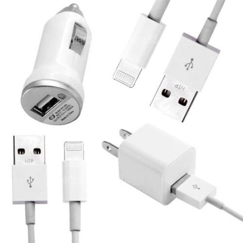 SCCellular® 4IN1 CHARGER SET - QUANTITY 2X 3 FEET DATA TRANSFER SYNCING 8 PIN USB + 1A WALL / 750MAH CAR PLUG FOR IPHONE 5 5S 5C 6 6 PLUS IPAD MINI 1 2, IPAD 4TH, IPOD 5TH GEN, IPOD NANO 7TH GEN IOS 8 COMPATIBLE (WHITE 4 IN 1)
